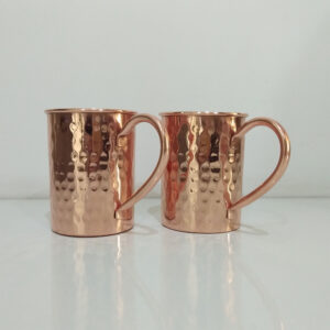 Cylindrical Copper Mugs Hammered (Set of two)