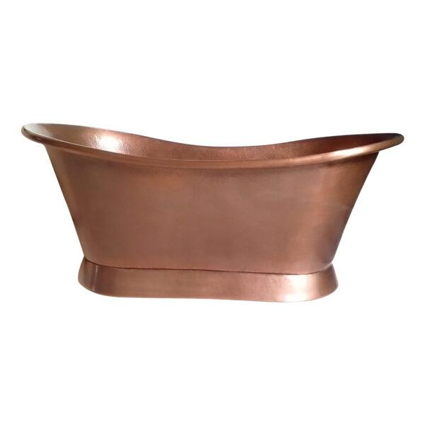 Slanting Base Copper Bathtub Antique Hammered Finish & Roll Top Pipe