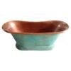 Slanting Base Copper Bathtub Copper Interior & Blue Green Patina Exterior Finish