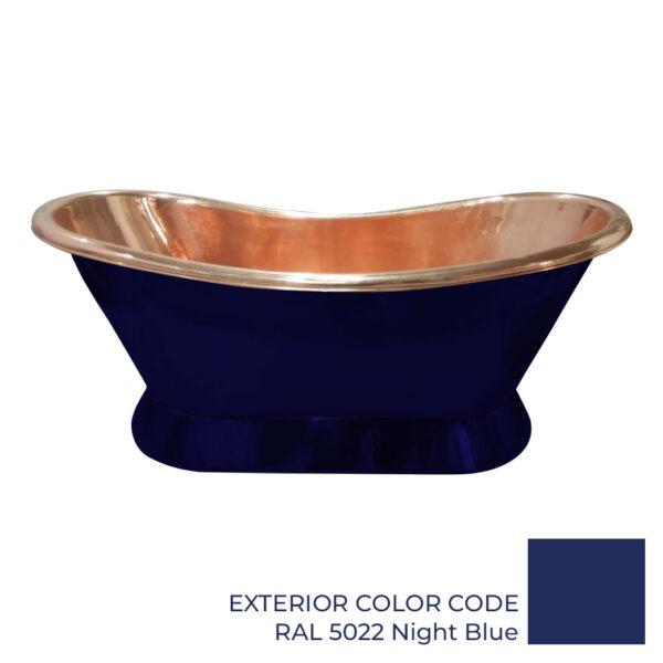 Slanting Base Copper Bathtub Copper Interior & RAL5022 Night Blue Exterior