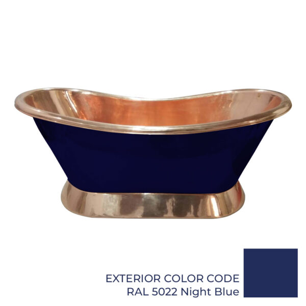 Slanting Base Copper Bathtub Copper Interior & on Base RAL5022 Night Blue Exterior