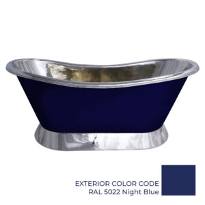 Slanting Base Copper Bathtub Nickel Inside & on Base RAL5022 Night Blue Outside