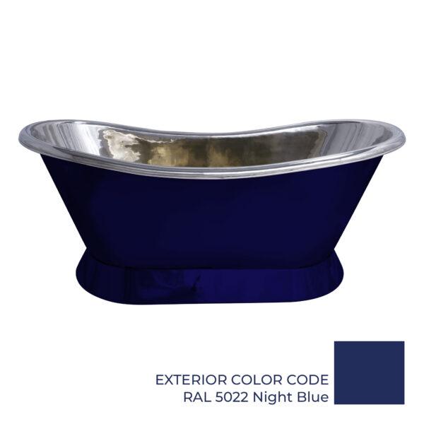 Slanting Base Copper Bathtub Nickel Interior & RAL5022 Night Blue Exterior