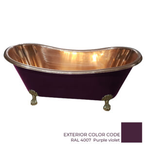 Clawfoot Copper Bathtub Polish Copper Inside RAL 4007 Purple violet Outside