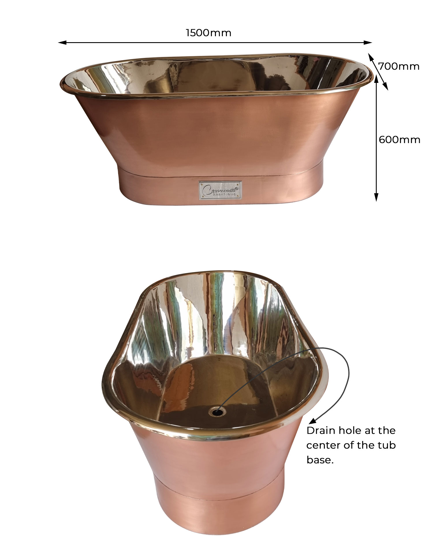 Straight Base Copper Bathtub Brushed Copper Exterior & Polished Nickel Interior