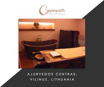Coppersmith Creations'bathtub install at Ajurvedos Centras, Vilinus, Lithuania