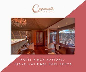 Coppersmith Creations' bathtub install at Hotel Finch Hattons, Tsavo National Park Kenya
