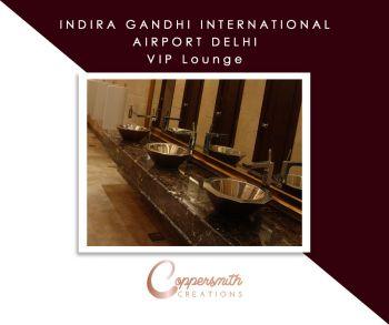 Coppersmith Creations Sink install at Indira Gandhi International Airport Delhi