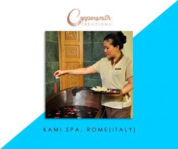 Coppersmith Creations bathtub install at Kami Spa Rome(Italy)
