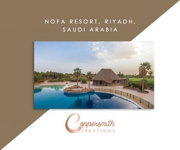 Coppersmith Creations product install at Nofa Resort, Riyadh, Saudi Arabia